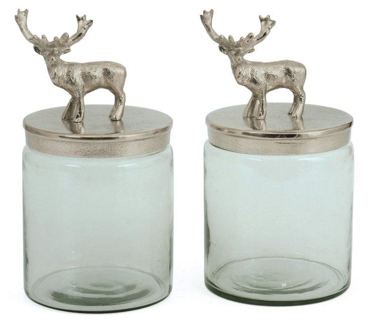 Pair of Glass Bambee Jars