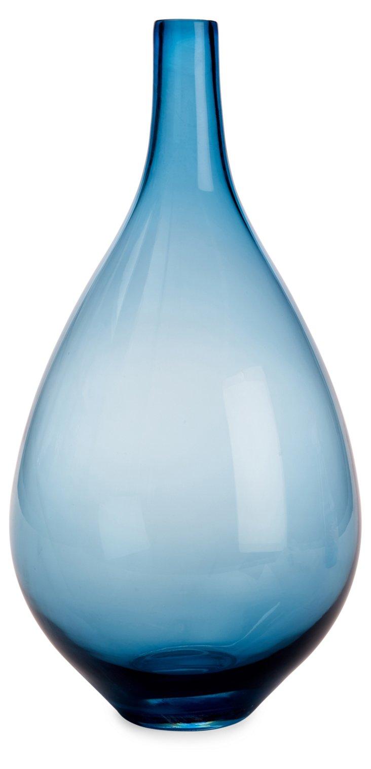 "17"" Bouvier Glass Vase, Blue"