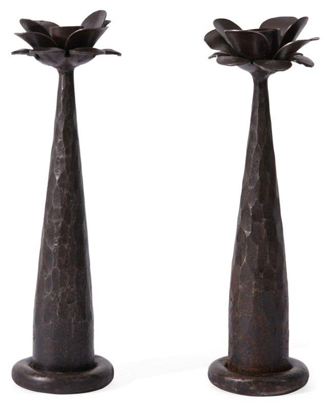 Pair of Maggie Candleholders, Black