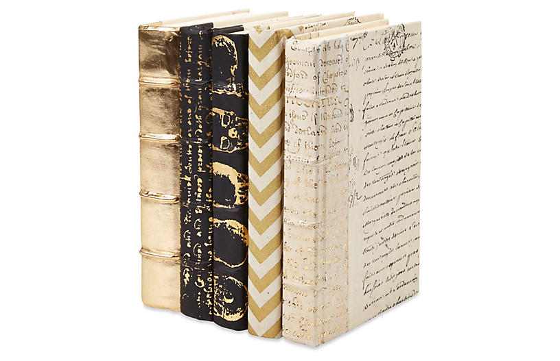 S/5 Designer Decorative Books, Gold