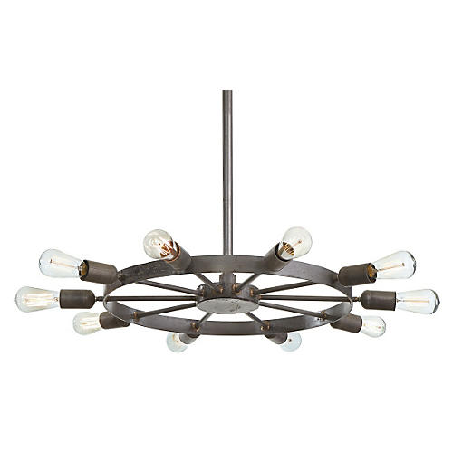 Wheel 10-Light Pendant, Brass