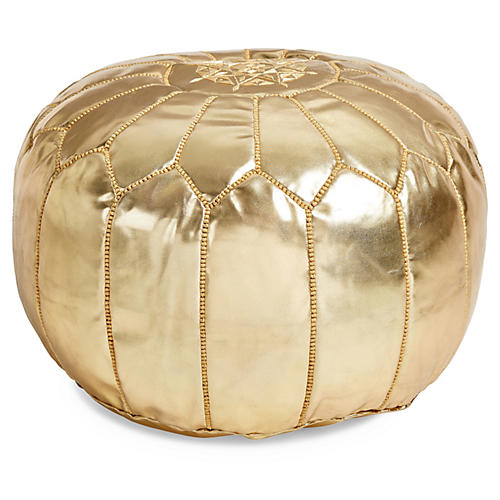 Moroccan Leather Pouf, Gold