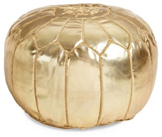 Moroccan Leather Pouf, Gold   Poufs   Ottomans, Poufs U0026 Stools   Living  Room   Furniture | One Kings Lane