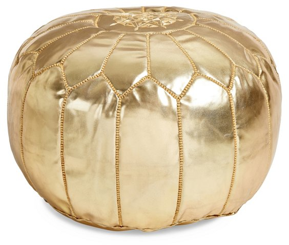 Moroccan Leather Pouf Gold