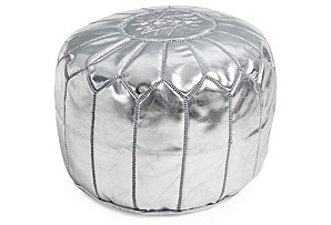 Moroccan Leather Pouf, Silver