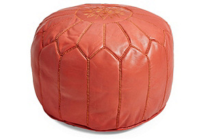 Moroccan Leather Pouf, Coral Orange