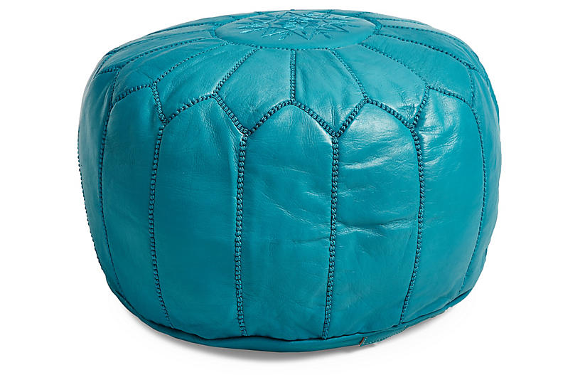 Moroccan Leather Pouf - Turquoise