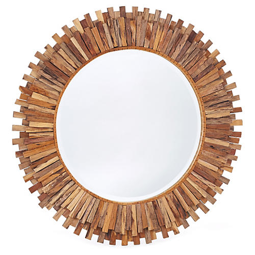 "Arlene 35"" Wall Mirror, Natural"