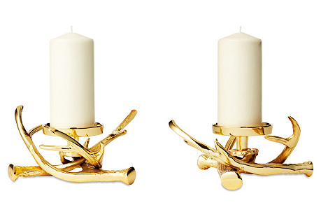 S/2 Antler Pillar Holders, Gold