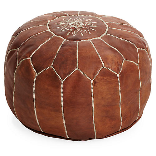 Moroccan Leather Pouf, Natural Brown