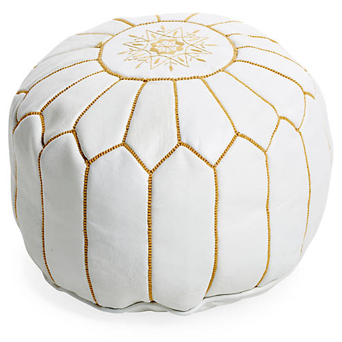 Moroccan Leather Pouf, White/Yellow