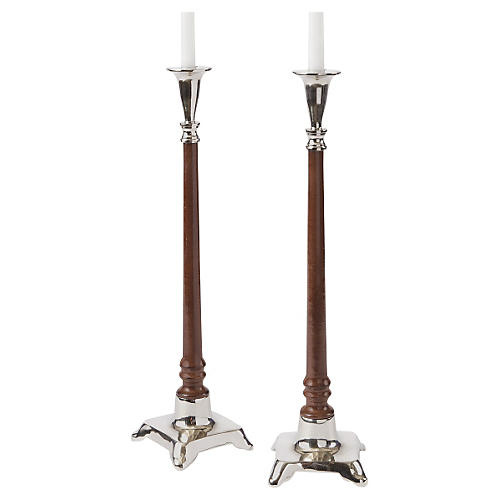 S/2 Ellison Candlesticks, Brown