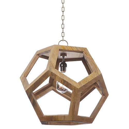 Neely Pendant, Natural Wood