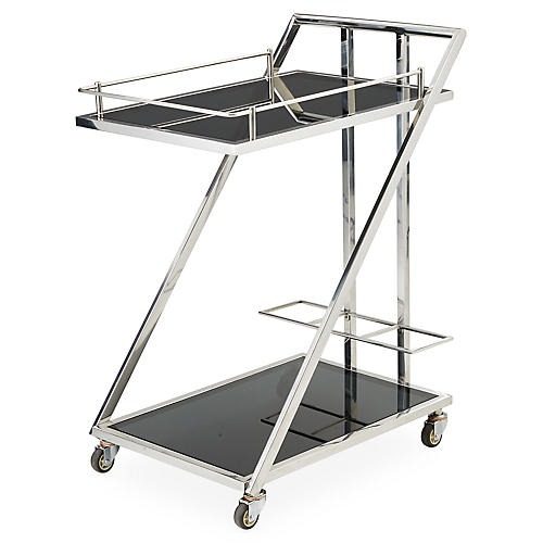 Lana Bar Cart, Polished Nickel