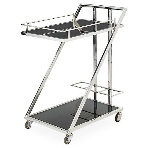 Lana Bar Cart, Polished Nickel