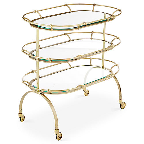 Marlene Bar Cart, Brushed Brass