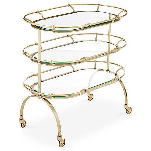 Marlene Bar Cart, Brushed Brass