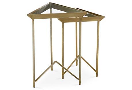 S/2 Parker Nesting Tables, Brass