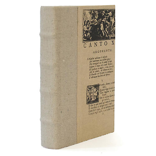 "8"" Decorative Canvas Book, Beige"