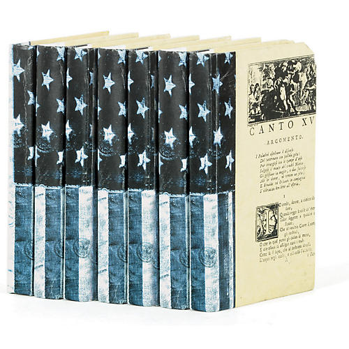 Linear Foot of USA Flag Books, Blue