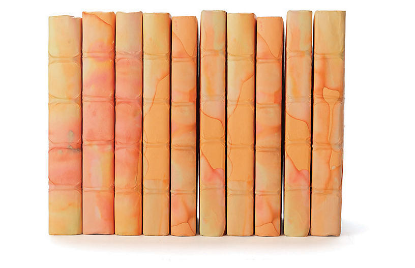 Linear Foot of Acid Wash Books, Orange