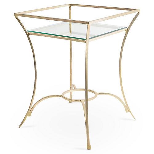 Andy Glass Side Table, Antiqued Gold