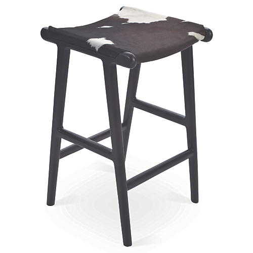 Philis Hide Stool, Black/White