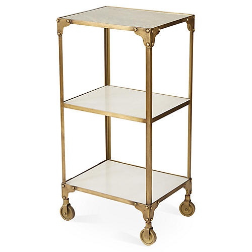 Hayden Marble Bar Cart, Gold