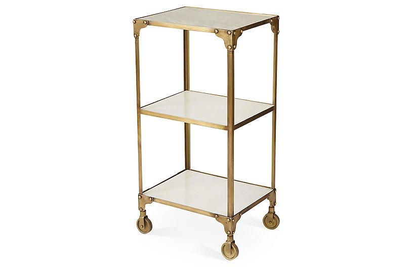Hayden Marble Bar Cart, Gold
