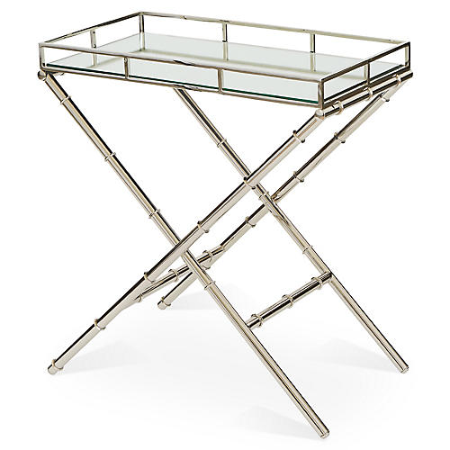 Melanie Glass Side Table, Silver