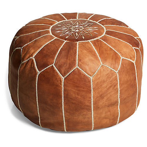 Moroccan Pouf, Camel Leather