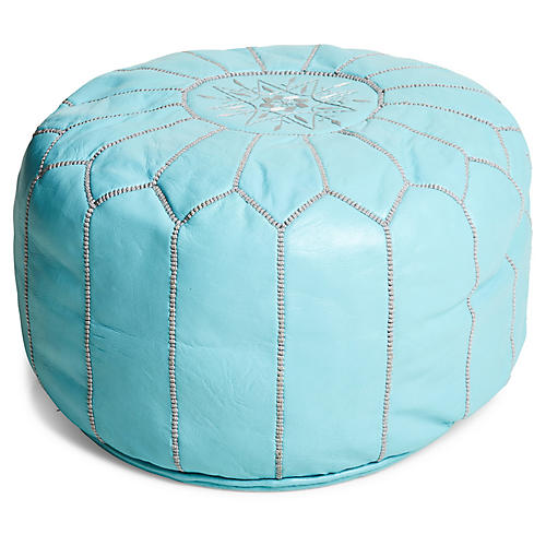 Moroccan Pouf, Mint/Gray Leather