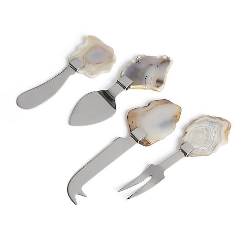 S/4 Kierra Cheese Knives, Silver/Multi