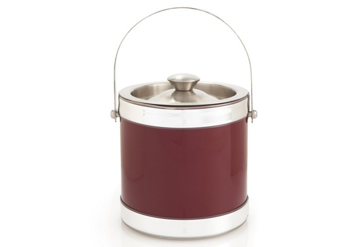 2 Qt Stainless Ice Bucket, Burgundy