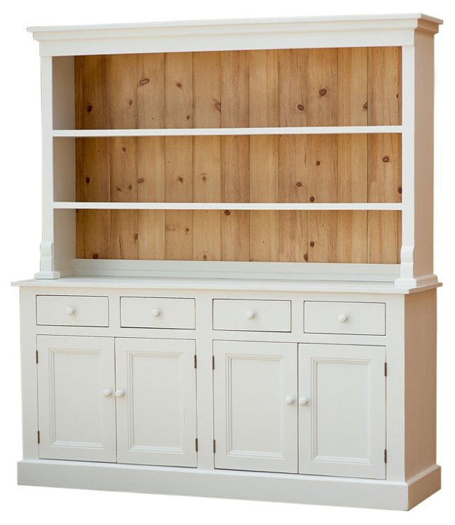 """Welsh 68"""" Hutch, White/Natural"""
