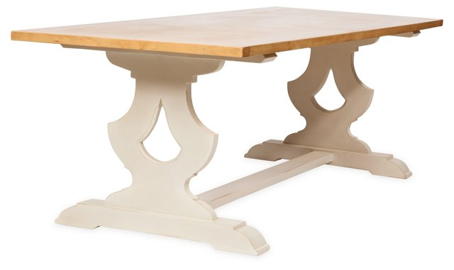"Janine 72"" Dining Table, Cream/Natural"