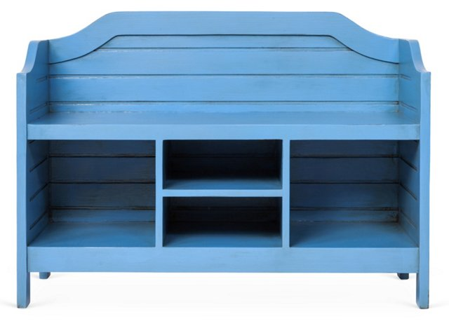 Beach House Storage Bench, Cobalt