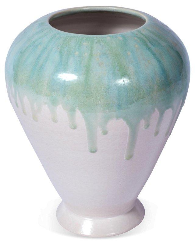 Medium Shouldered Blue Green Float Vase