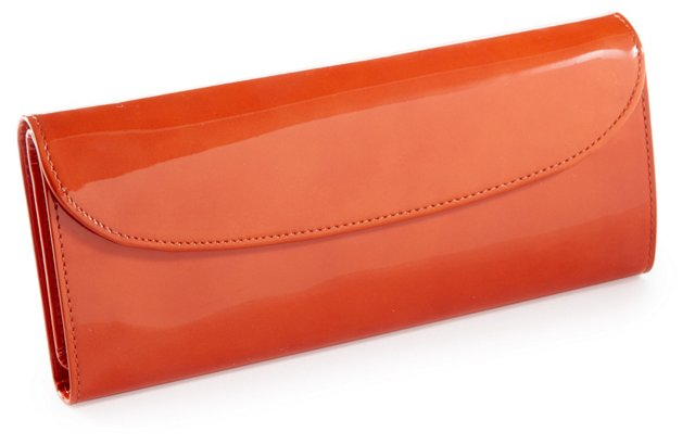 Large Patent Jewelry Roll, Burnt Orange