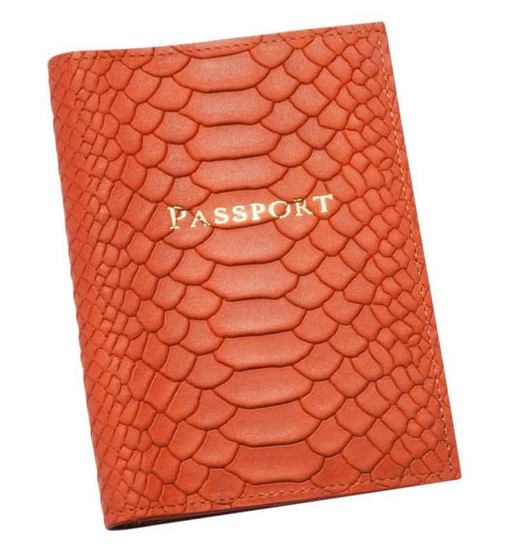 Embossed Leather Passport Holder, Orange