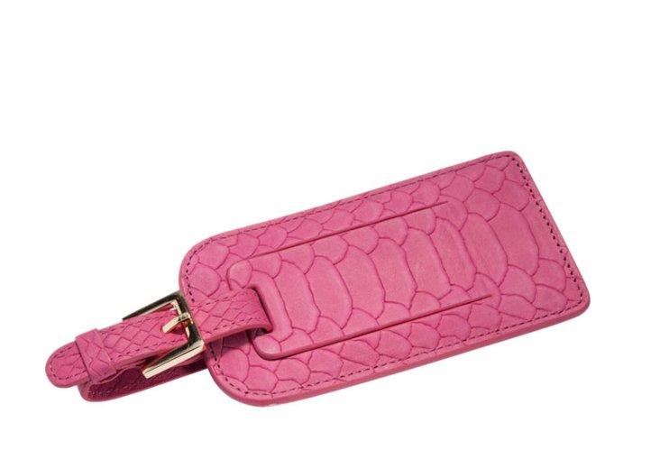 Embossed Leather Luggage Tag, Fuchsia