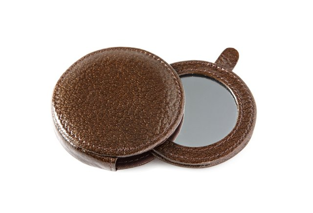 Leather Mirror, Bronze