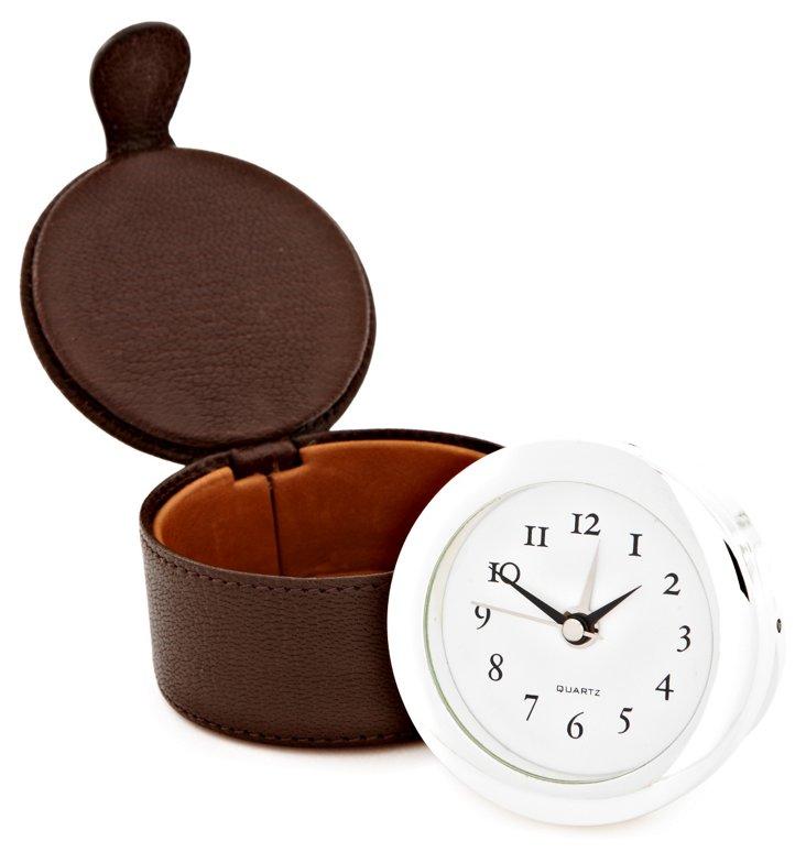 Travel Clock w/ Case, Mocha