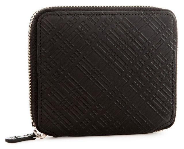 Small Goatskin Zip Wallet, Black