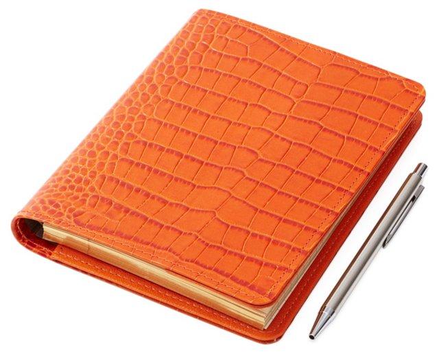 "7"" Refillable Leather Journal, Orange"