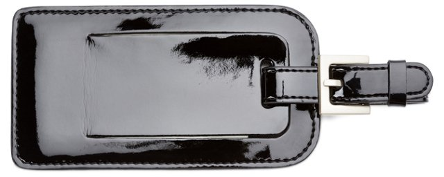 Patent Leather Luggage Tag, Black