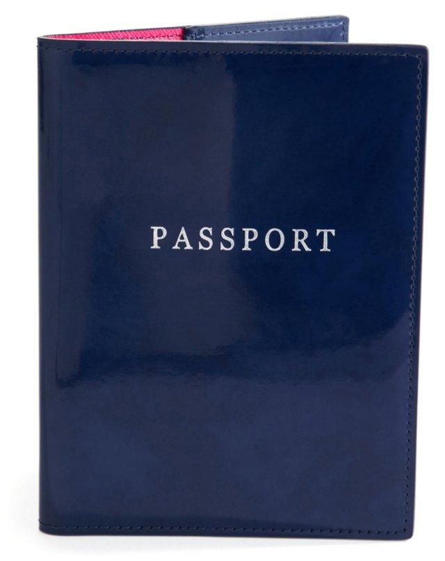 Patent Leather Passport Holder, Navy