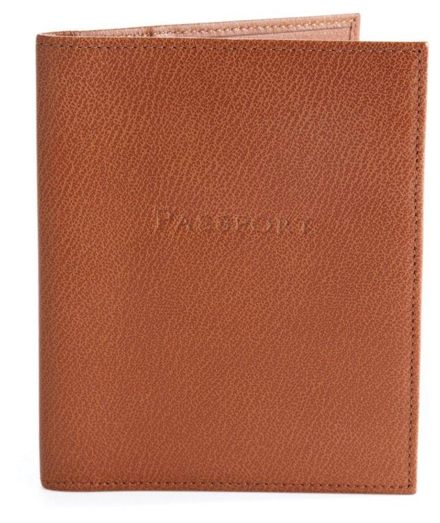 Leather Passport Holder Wallet, Brown