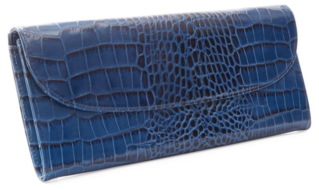Embossed Leather Ticket Wallet, Blue