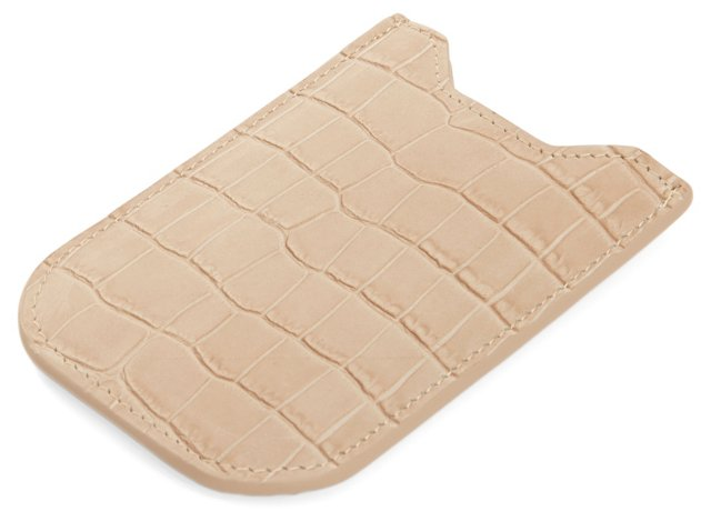 Embossed Leather iPhone Sleeve, Taupe